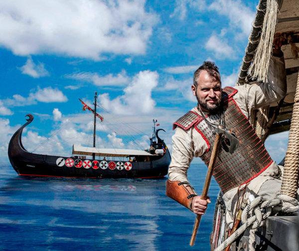 Guerreros vikingos en barco