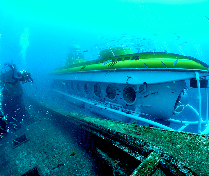 submarine under water